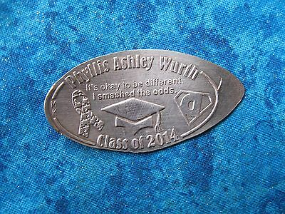 PHYLLIS ASHLEY WURTH CLASS OF 2014 COPPER Elongated Penny Pressed Smashed 4K