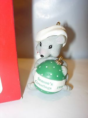 new baby gray Mouse 1995 CHRISTMAS tree ornament seasons greetings holiday