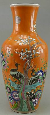 China Style Collectible Decorated Porcelain Drawing Crane Flower Tree Vase