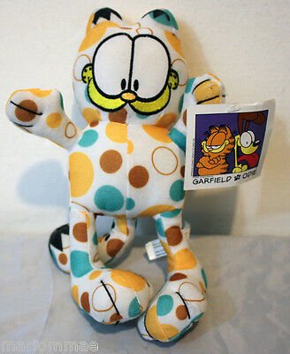 "Polka Dot Garfield Cat 9"" Toy Factory Stuffed Animal With Tag"