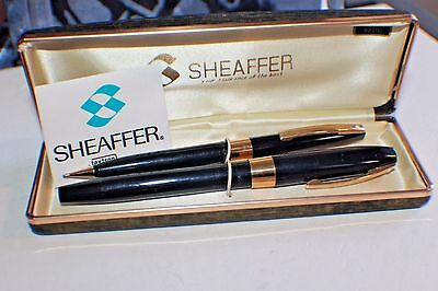 Mint Sheaffer's Color Black Fountain Pen & Pencil Imperial IV Broad Nib14 Kt
