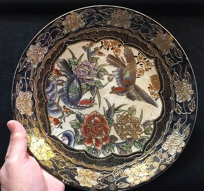 Antique Blue & Gilt Gold Hand painted  Rose & Birds Decorative Victorian Plate