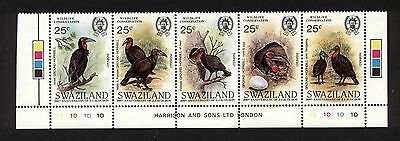 Swaziland No. 475- Strip of 5 Bird Stamps VF MNH: Cat. Value $ 17.50 (F24)