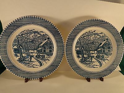 "Edwin Knowles Country Life Currier & Ives Blue & White Two 10.25"" Dinner Plates"