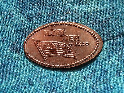 NAVY PIER CHICAGO AMERICAN FLAG Elongated Penny Pressed Smashed 21