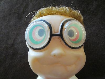 Vintage crazy eye boy 1969 Parksmith  squeak toy rubber doll with ice cream cone