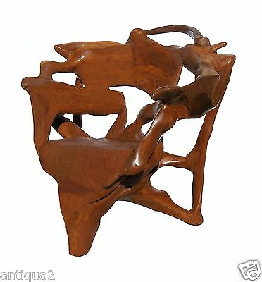 Massive One-Of-A-Kind Solid Artist Carved Teak Root Wood Chair Arm Chair Arts