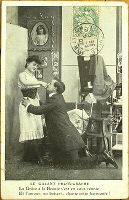 Photographer, Camera & Beautiful Woman in Studio - 1907 French Postcard