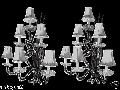 Pair Iron Hregency Crystal Beaded Draper Antique Style Sconces Hollywood Regency