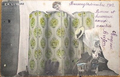 Risque 1903 French Postcard: Woman Behind Changing Screen - 'La Luxure'