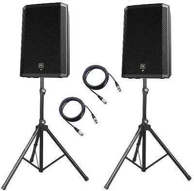 """2x EV ZLX15P two-way15"""" 1000W active speakers + STANDS AND CABLES"""