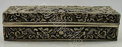 Collectible Decorated Silver Plate Copper Carved Dragon Big Jewel Box