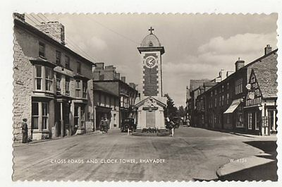 Cross Roads & Clock Tower Rhayader RP Postcard 0893