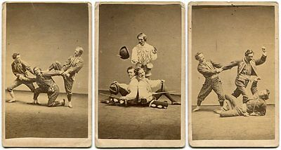 Hanlon Brothers Acrobats 3 Advertising CDV Photos Wood's Theater NYC Circus