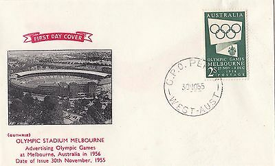Stamps Australia 1954 Olympic Publicity 2/- green on Guthrie FDC unaddressed
