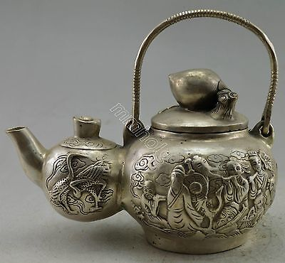 Collectible Decorated Silver Plate Copper Carved 8 Immortal Gourd Tea Pot