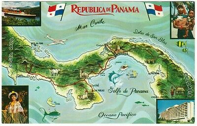 Panama Country and Canal Map and Views Postcard 1950s #1