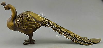 Collectible Decorated Copper Carved Longe Tail Peacock Statue