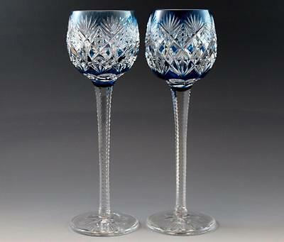"""Pair French St. Louis Florence Pattern Blue Cut Crystal Hock Wine Goblets 9.5"""""""