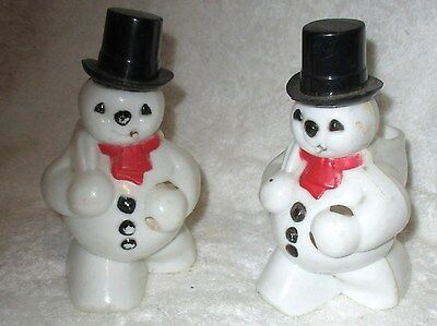 Lot of 2 Vintage Hard Plastic Snowman Candy Container