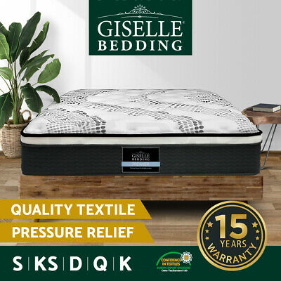 Giselle Bed Mattress Queen Double King Single Pocket Spring Foam Medium Firm 32