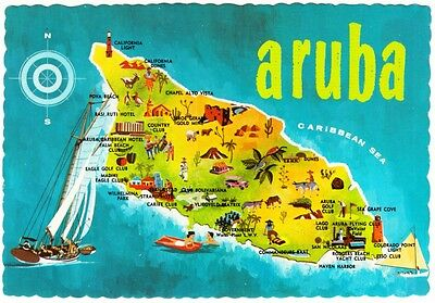 Aruba Map with Scenic Illustrations 1960s Postcard