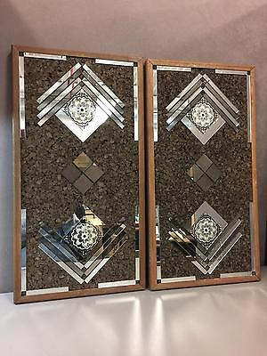 Pair of Vintage Mid Century Modern Cork & Mirror Wall Accessory by Turner