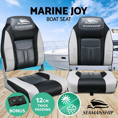 2 X Premium Folding Boat Seats Marine All Weather Swivels Grey Charcoal Set