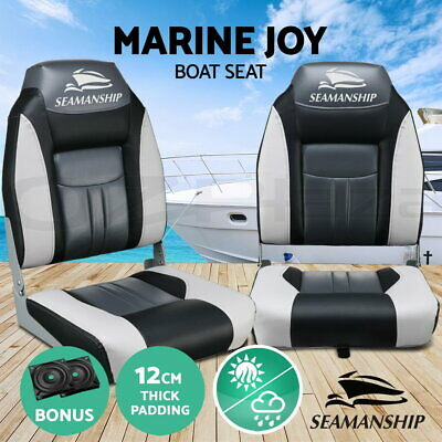 2X Folding Boat Seats Seat Marine Seating Set All Weather Swivels BK
