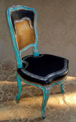 Louis Xv Style Venetian Palace Italian Tooled Leather Silver Office Desk Chair