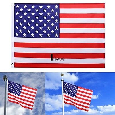 New 2 x 3 Ft U.S. American Flag USA Polyester Stars Brass Grommets ILOE