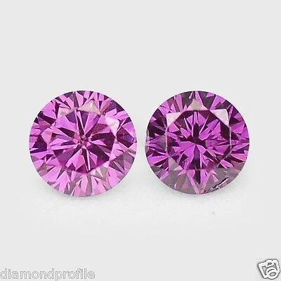 FIERY 0.13 Cts 2 Pcs SPARKLING QUALITY PURPLE PINK COLOR NATURAL LOOSE DIAMONDS