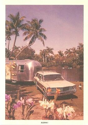 Airstream Trailer in Hawaii Pulled by Station Wagon Repro Postcard