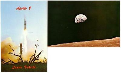 Apollo 8 Launch and Earth from Moon Lot of 2 Postcards