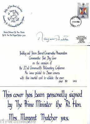 Politics fdc 1986 SIGNED Margaret Thatcher CERTIFIED, Finchley and Friern Barnet