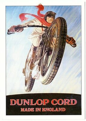 Dunlop Cord Motorcycle Tire Tyre 1920s-1930s  Ad Repro Postcard