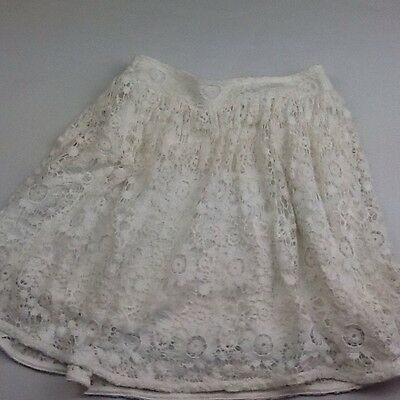 Girls Age 8-9 Years Creamy White Lace Summer Skirt W Elasticated Waist Ref:805