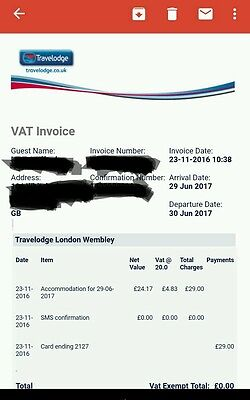 TRAVELODGE DOUBLE ROOM Wembley London, 29 June 2017, ADELE TOUR