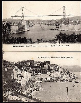 Postcards (x2) ~ MARSEILLES Transporter Bridge & Promenade FRANCE ~ Early 1900s