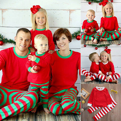 Cute Christmas Kids Adult Family Pajamas Set Striped Sleepwear Nightwear Costume