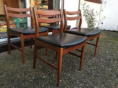 Mid Century Set Of 4 Dining Chairs Danish Style Vintage