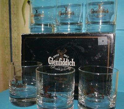 Glenfiddich Scotch Whisky Glasses Boxed Set of Six - Heavyweight 1960's
