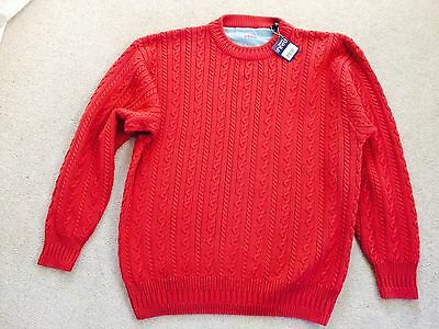 Sport Reed by  Austin Reed: 100% Cotton Rust Cable Knit Sweater Jumper (L) BNWT