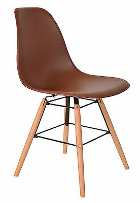ts-ideen 1 x Design Chair Lounge Club Bar Beechwood Seat Stool Brown Plastic