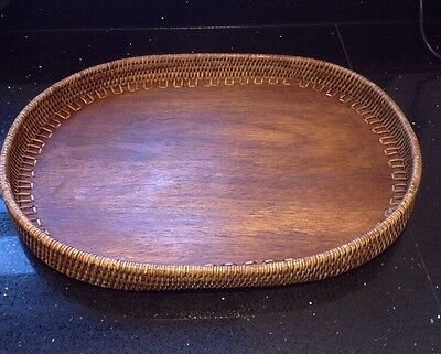 Vintage Antique Large Oval Wooden Wicker Serving Breakfast Tray