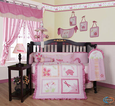 Baby Boutique Girl Pink DragonFly 13PCS Nursery CRIB BEDDING SET