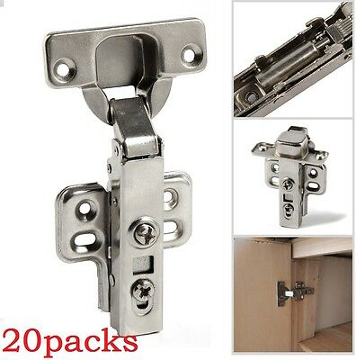 20x 35mm Soft Close Kitchen Cabinet Door Hinges Slow Shut Clip-On Plate +Screws