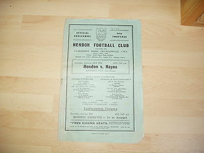 Hendon v Hayes Amateur Cup 2nd Rd 1953/4