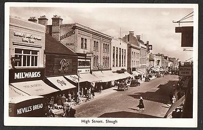 REAL PHOTO POSTCARD HIGH STREET SLOUGH BERKSHIRE SHOP FRONT c1945