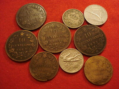 9 Italy Coins 1862 - 1956